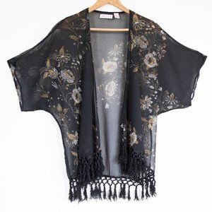 Lottie & Holly Sheer Floral Tassel Kimono - M